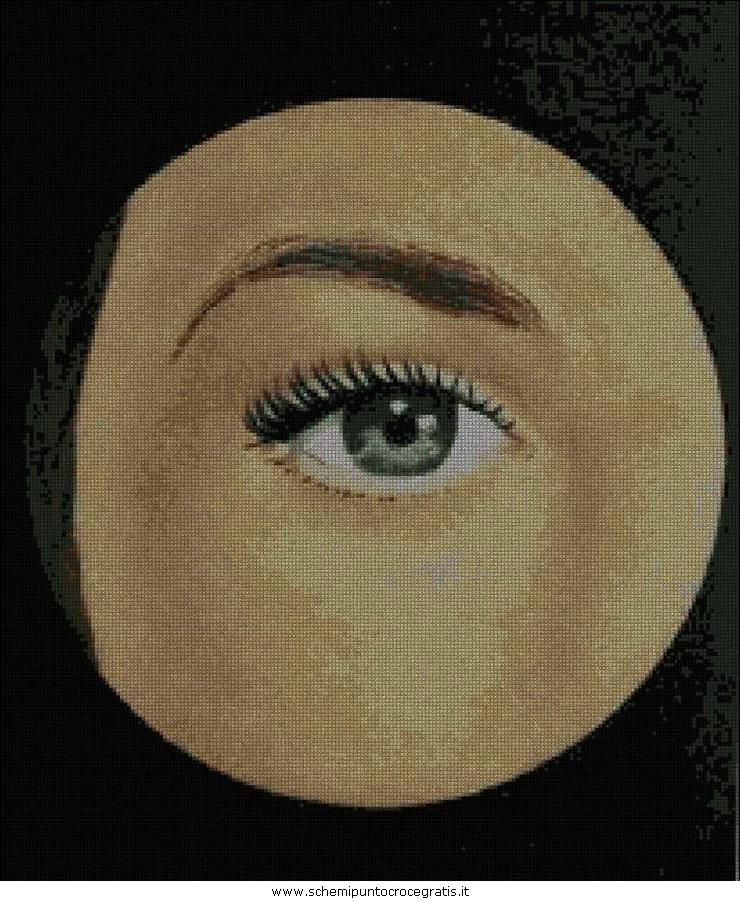 Magritte36 250 schema punto croce gratuito da stampare - Magritte uomo allo specchio ...