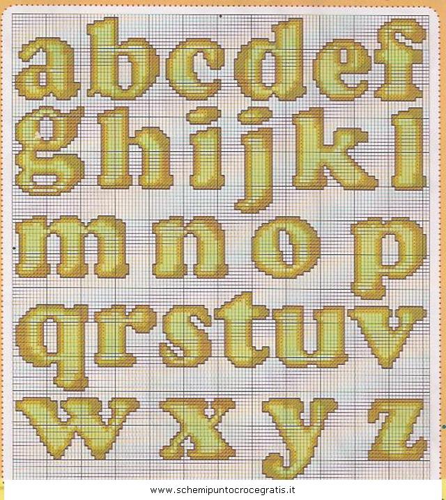 Alfabeti schema punto croce gratuito da stampare for Ricamo punto croce lettere