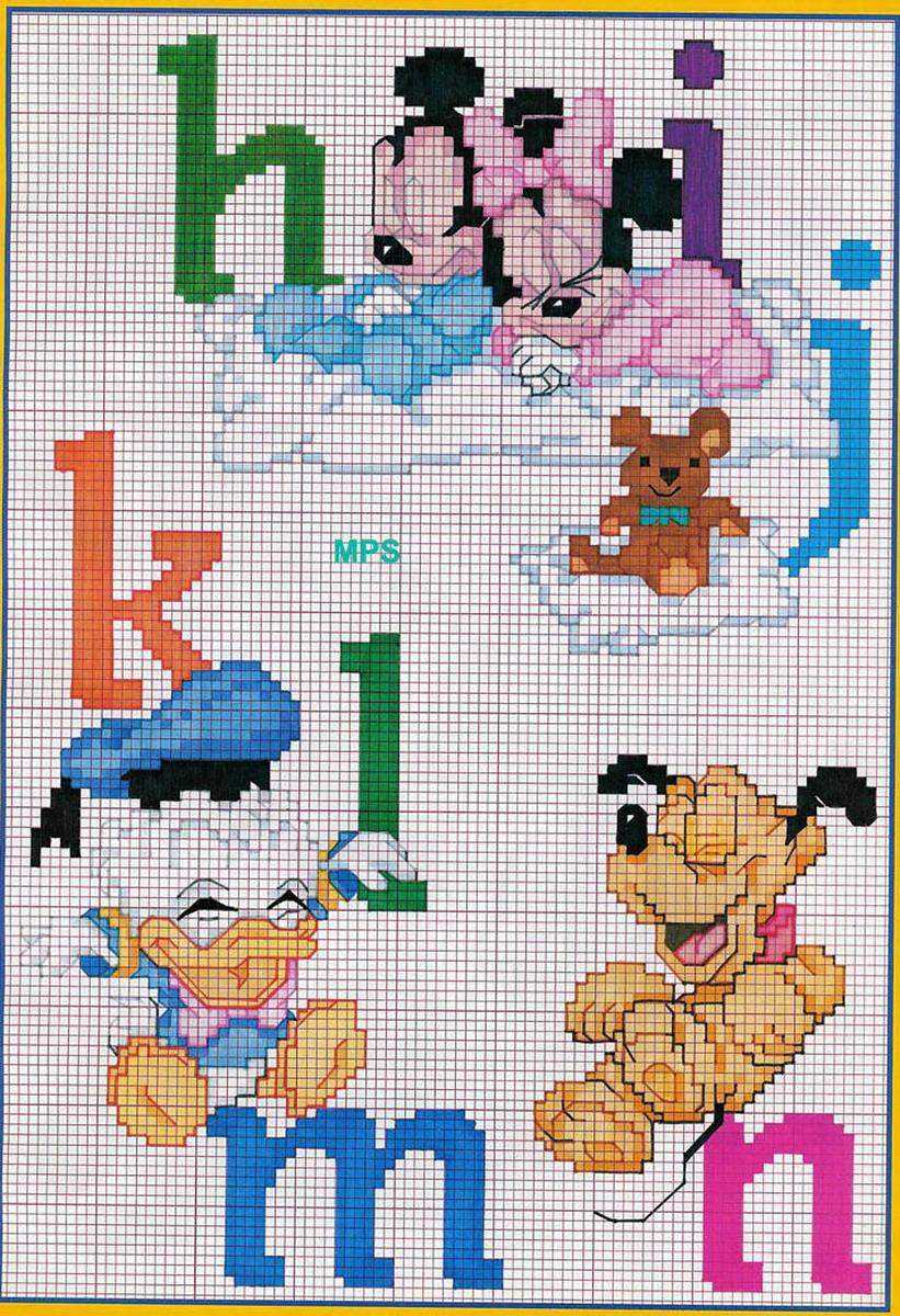 Alfabeto Disney 2 Schema Punto Croce Gratuito Da Stampare