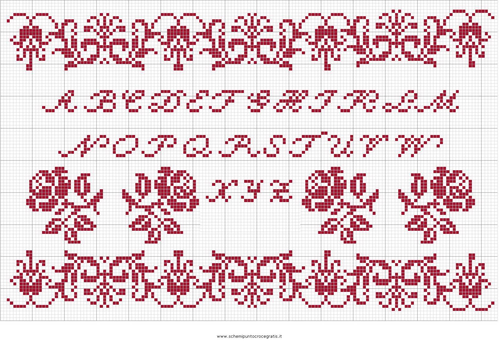 Puntocroce alfabeto 26 schema punto croce gratuito da stampare for Punto croce schemi alfabeto