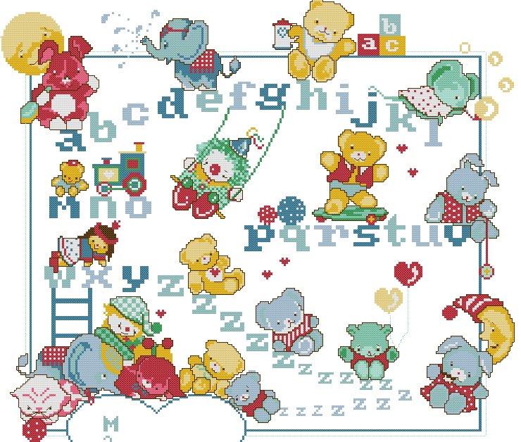 Schemi punto croce alfabeto bambini zf11 pineglen for Punto croce schemi alfabeto