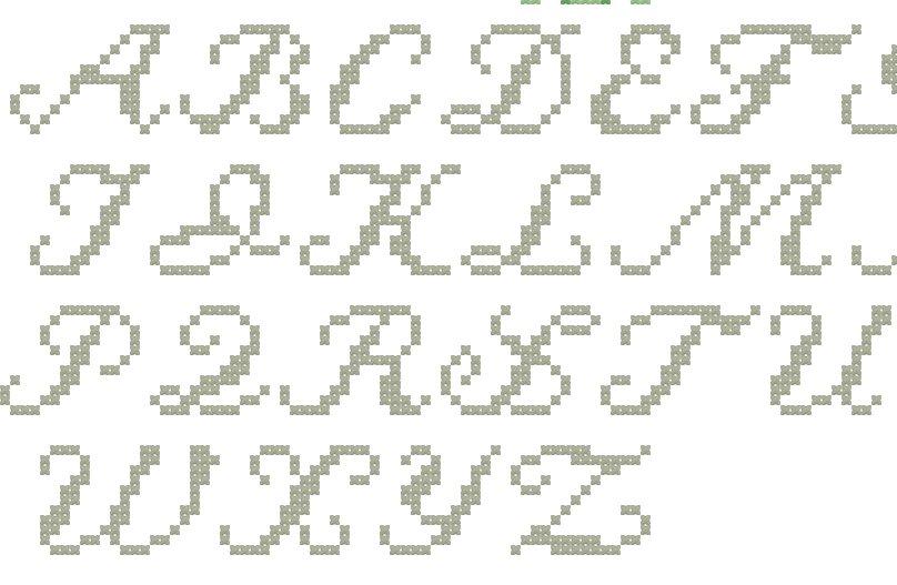 Alfabeto punto croce corsivo imagui for Punto croce schemi alfabeto