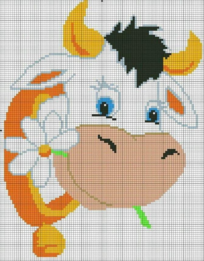 Animali fattoria 06 schema punto croce gratuito da stampare for Animali a punto croce per bambini
