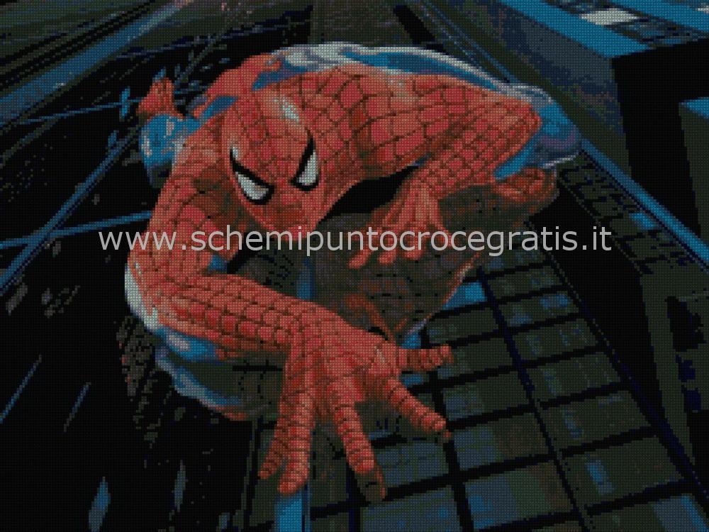 Spiderman uomo ragno s schema punto croce gratuito da