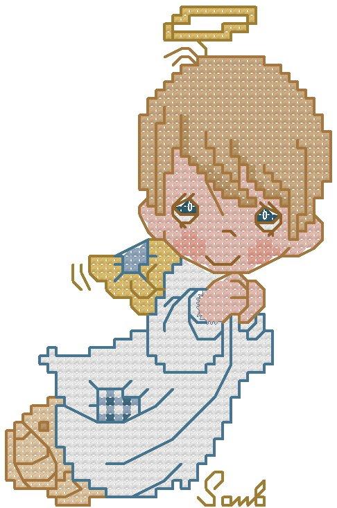 Schemi Elettrici Per Bambini : Schema bimbo angioletto punto croce gratuito da