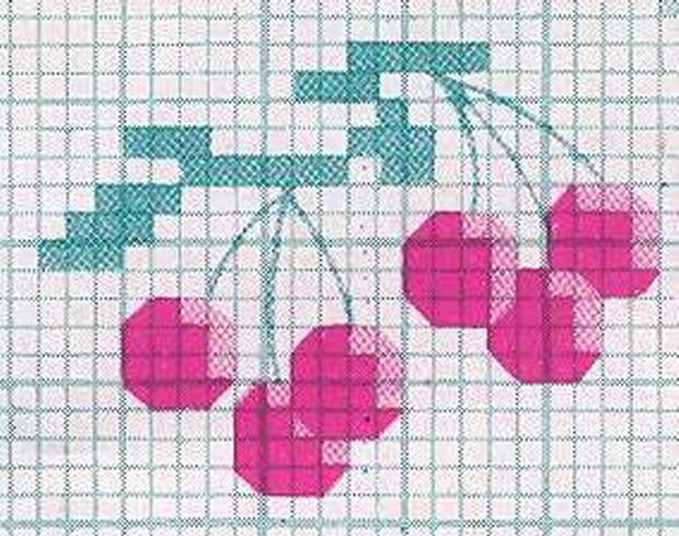 Schemi fiori frutta 057 schema punto croce gratuito da stampare - Disegni punto croce per tovaglie da tavola ...